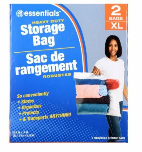 """2 XL 5 GAL LARGE PLASTIC STORAGE BAGS W HANDLE ZIP LOCK FOR CLOTHES 20.5""""x17"""""""