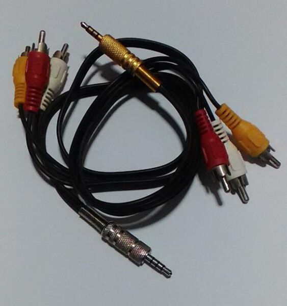 Gold & Silver Iphone 3.5mm 4 pole TRRS 3RCA 2ft Cable for phone, androids, TV, MP3, Cams, Headphones