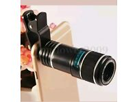 Mobile phone 12x zoom telescope lens with clip for mobile phone