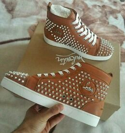 Christian Louboutin Brown leather Silver Spikes trainers