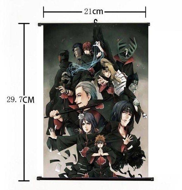 Hot Japan Anime Naruto Akatsuki menbers Home Decor Poster Wall Scroll 21*30CM
