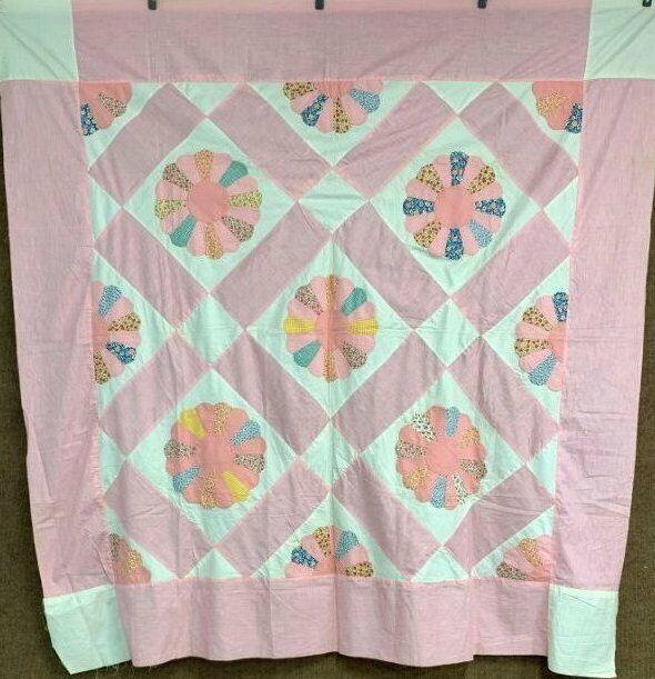 Pink! Vintage c 1930s Dresden Plate   APPLIQUE Quilt Top