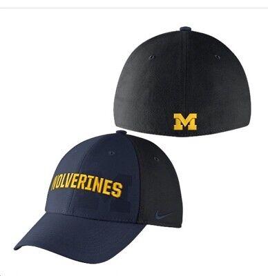 Nike Michigan Wolverines One Size Flex Dri Fit Hat Blue & Black Classic 99 Blue One Fit Hat