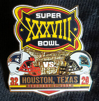 SUPER BOWL 38 NEW ENGLAND PATRIOTS vs PANTHERS Final Score PIN ~ Willabee & Ward