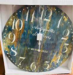 Provence Wall Clock Blue 23D Round Gallery French Country Distressed Wood Paris