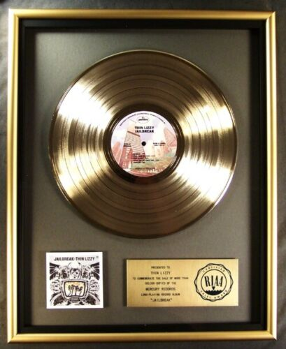 Thin Lizzy Jail Break LP Gold RIAA Record Award Mercury Records To Thin Lizzy
