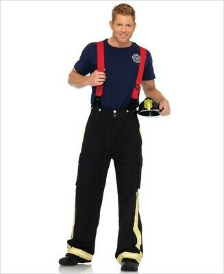 Fireman Costume For Men (3pc Fire Captain Firefighter Man Pants T-Shirt Suspenders Halloween Costume)