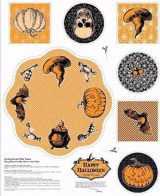Happy Halloween Table Toppers Mat Patrick Lose 100% cotton fabric by the panel