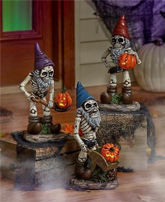 CREEPY LIGHTED PUMPKIN SKELETON GNOME STATUE HALLOWEEN INDOOR OUTDOOR DECOR](Skeleton Pumpkin)