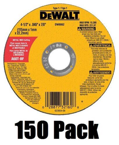 """(150) DeWalt DW8062 4-1/2"""" x .045 x 7/8"""" Metal Thin Cut-Off Wheels"""