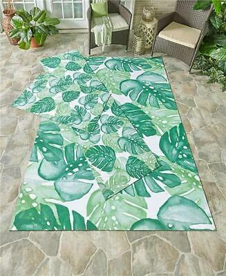 TROPICAL OUTDOOR PALM LEAVES PATTERN ACCENT RUNNER OR AREA RUG PVC BACKING Polyester Tropical Rug
