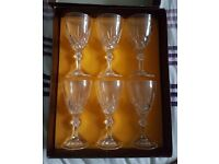 Cathedral Crystal Set of 6 Wine Italian 24% Lead Crystal Glasses