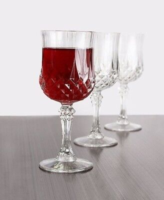 Disposable Crystal Wine Glasses Hard Plastic Unbreakable Party Tumblers Set of 4](Disposable Glasses)