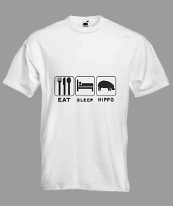 Eat Sleep Hippo Hippopotamus Funny T-shirt in all Sizes & choice of colours