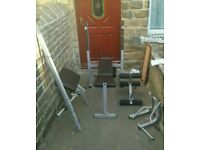 #York Fitness# bundle weight lifting equipment with lots of weights and attachments