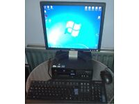 "Complete Desktop PC Computer System WiFi Windows 7 Pro 2GB RAM 250gb HDD 17 "" monitor Bargain"