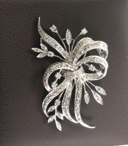 1.25 carat total Diamonds single cuts Art Deco flower Pin Brooch 14k white gold