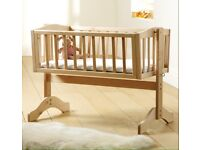 Mothercare swinging crib in natural wood
