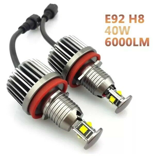 40W High Power Error Free CREE BMW E92 E93 E90 and other models H8 LED Angel Eye Halo Ring Bulbs