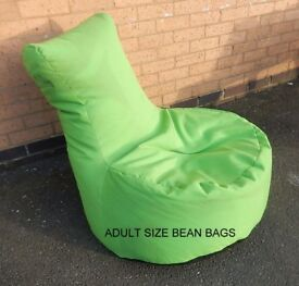 adult size recliner bean bags. green with black base