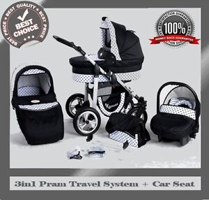 SILVER-BABY-TRAVEL-SYSTEM-3in1-PRAM-PUSHCHAIR-CAR-SEAT-12-COLOURS-REDUCED-PRIC