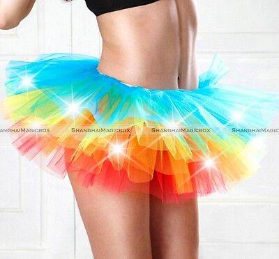 Led Tutu Skirt (Women LED Light Up Neon Rainbow Tutu Fancy Dress Halloween Costume Adult)