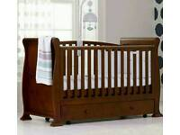Gorgeous Sleigh cot bed rich walnut