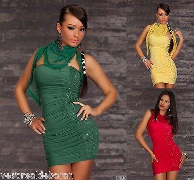 Miniabito Donna Vestito Abito Mini LEOPARD C090 Rosso Giallo Verde Tg S/M M/L