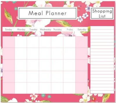 Floral Weekly Magnetic Fridge Meal Diet Planner Shopping List Chart Board Food