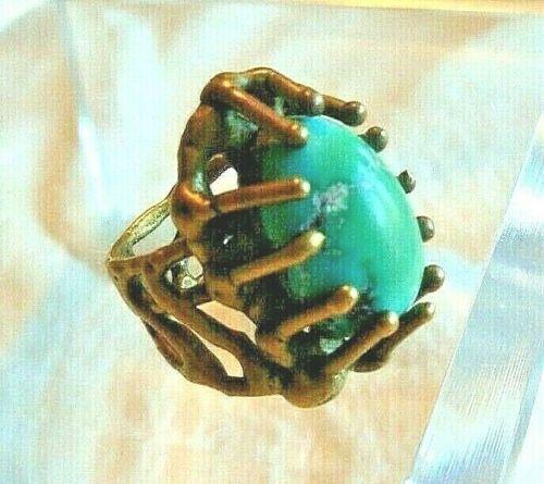 Vtg Modernist Brutalist Bronze Turquoise Blue Stone Ring 6 6.5