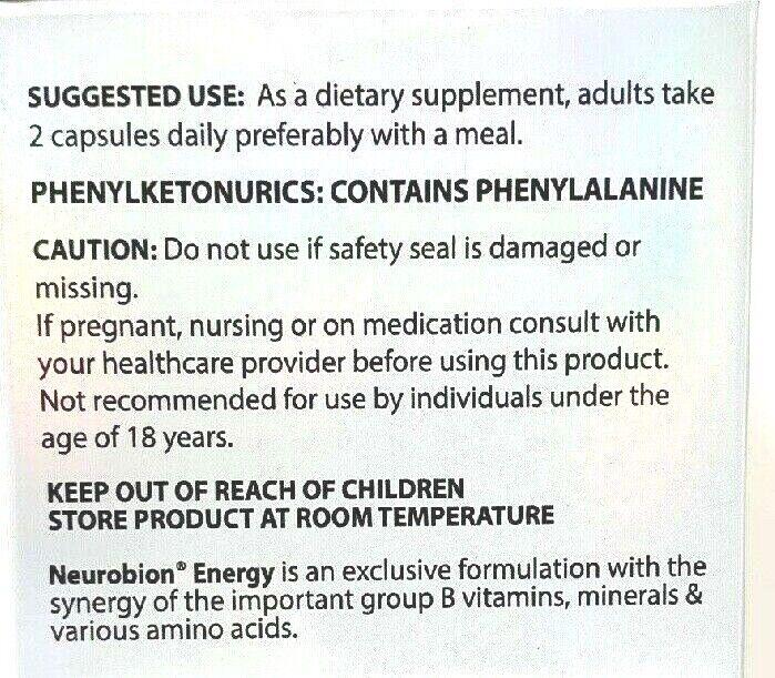 2 PK Neurobion Energy Dietary Supplement 60 Capsules Vitamina B1 B2 B6 B12 1