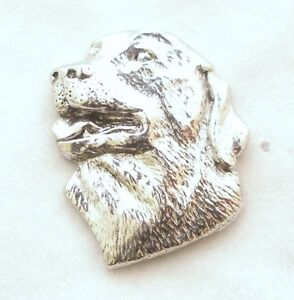 Labrador Dog's Head Pin Badge in Fine English Pewter, Handmade (AE)