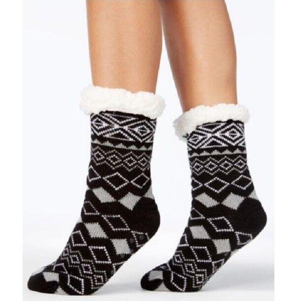 Charter Club Slipper Socks with Grippers Black Faux Fur Diam