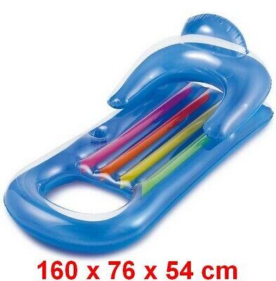 Sillon colchoneta hinchable piscina 160x76 cm,reposabrazos,respaldo,portavasos