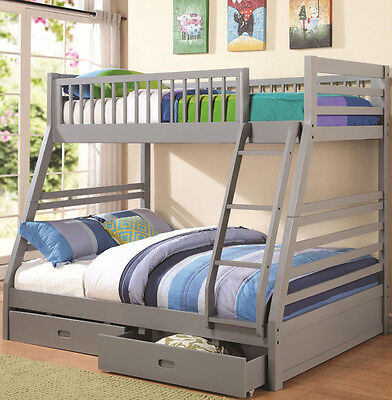 NEW BRINLY GRAY FINISH WOOD TWIN OVER FULL BUNK BED w/ UNDER BED DRAWERS ()