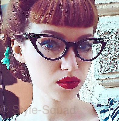 Retro Cat Eye Pin Up Crystals & Gold Rockabilly Fashion Eye Glasses Frames (Cateye Glass Frames)