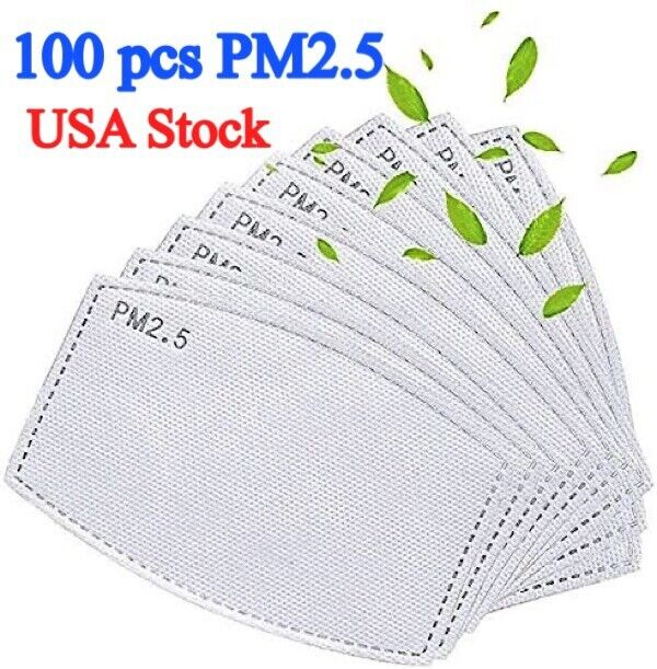 100 PM2.5 Activated Carbon Filter 5 Layer Replaceable Face Mask Cover Protection