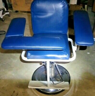 Blue Adjustable Phlebotomy Blood Drawing Chair Medical Lab Clinic Blood Bank Md