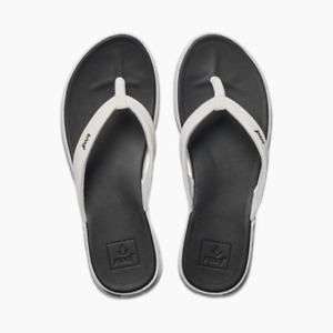 Reef Rover Catch Pop Womens' Black and White Sandals, Size 8