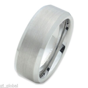 Tungsten-Carbide-Mens-Comfort-Fit-Wedding-Band-Ring-Silver-Brushed-Center-8mm