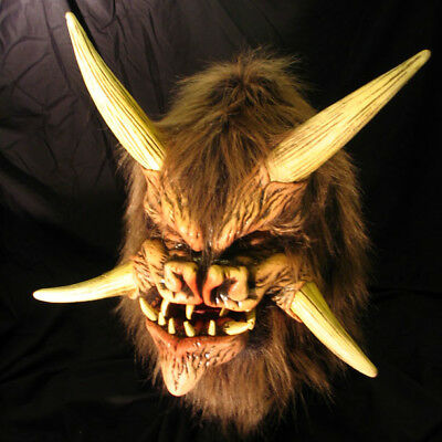Demon Devil Deamonic Biest Monster Gehörnt Latex Halloween Maske (Bewegliche Halloween Masken)