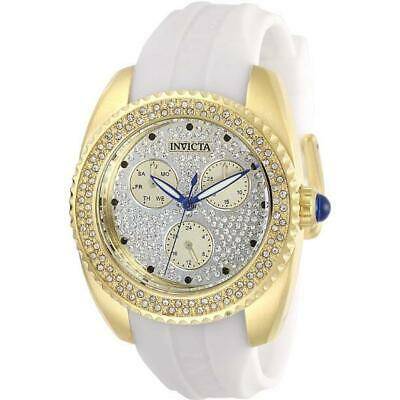 Invicta Angel 28484 Women's Gold-Tone Multi Dial Pave White Silicone Band Watch