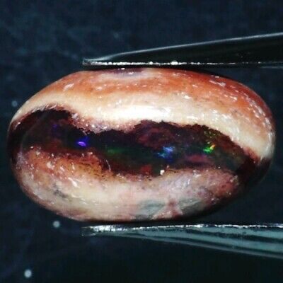 MEXICAN FIRE OPAL IN MATRIX 14 x 8 MM OVAL CABOCHON ALL NATURAL F-794