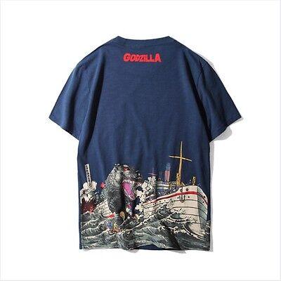 Boat Print Tee (Godzilla T-shirt Ukiyoe Boat Print - Limited Edition - Navy)
