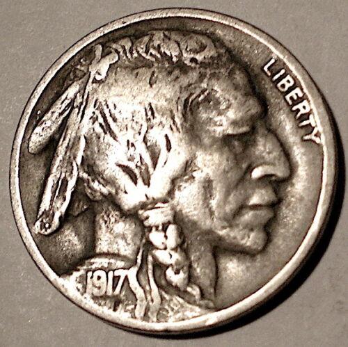 1917-D BUFFALO NICKEL 5 Cents F-VF 25º Rotated Dies $3 S&H USA