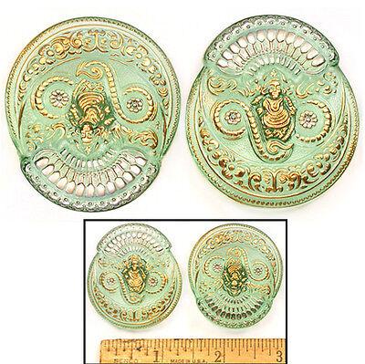SALE 45mm Vintage Czech Glass FOCAL Buddha GREEN GODDESS Phoenix Buttons 2pc