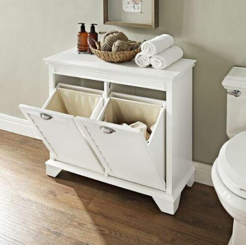Laundry Hamper Tilt Out Double Bedroom Linen Cabinet White Hidden Storage Sorter