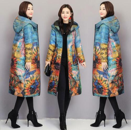 2020 Chic Womens Winter Long Floral Down Parka Trench Coat Hooded Warm Jacket
