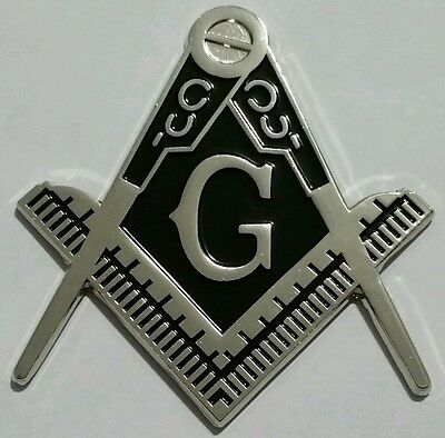 Freemason Masonic cut-out car emblem in silver with solid  Black