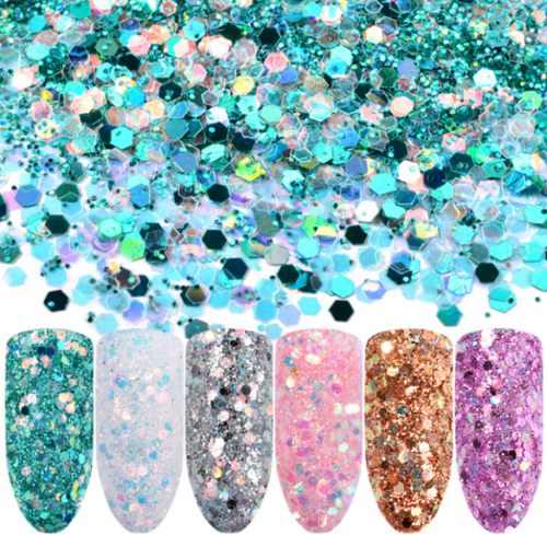 6 Mix Nail Art Glitter Sequins Powder Dust for UV Gel Acrylic Decoration Tips